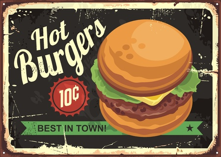 Hot burgers retro tin sign design. Иллюстрация