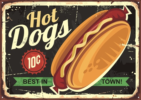 Hot dogs retro tin sign design concept.