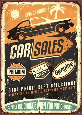 車販売ビンテージ ベクトル サイン デザインします。