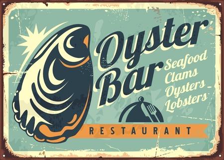 Oester bar creatief retro teken ontwerp sjabloon