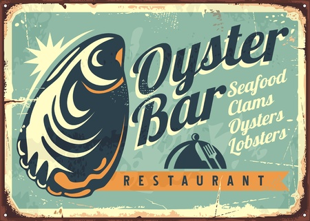 Oyster bar creative retro sign design template Иллюстрация