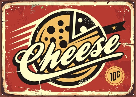 Cheese vintage sign vector illustration 向量圖像