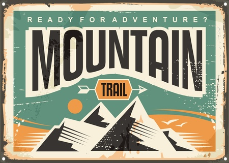 Mountain trail retro sign board design layout