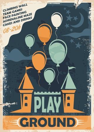 城、風船と屋外の遊び場ポスター テンプレート  イラスト・ベクター素材