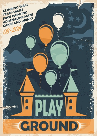 Outdoor playground poster template with castle and balloons