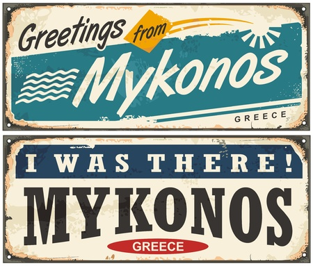 Greetings from Mykonos Greece retro signs design