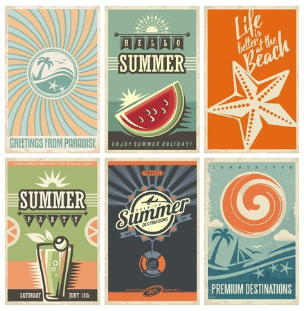 Vector set of summer vacation cards and banners