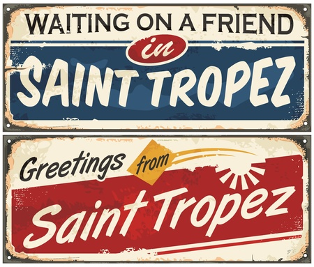 Saint Tropez retro signs set on old vintage metal texture