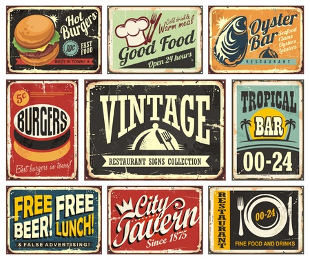 vintage cafe: Vintage restaurant and cafe bar signs collection