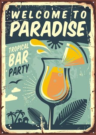 熱帯バー パーティーの古い金属看板パラダイスへようこそ  イラスト・ベクター素材