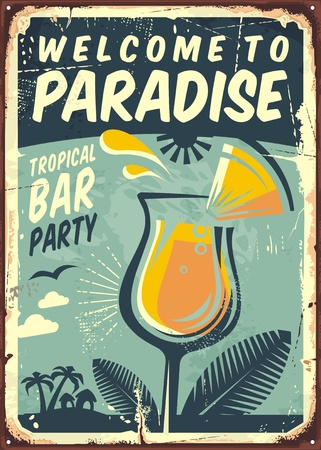 Welcome to paradise old metal sign for tropical bar party Ilustrace