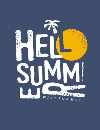 Hello summer typography vector print design