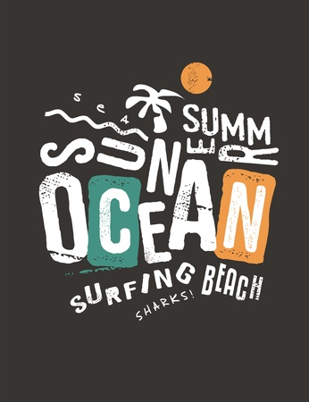 Ocean and sun typography artwork