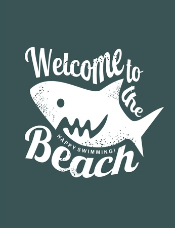 underwater fishes: Welcome to the beach funny t-shirt print template with big white shark. Illustration