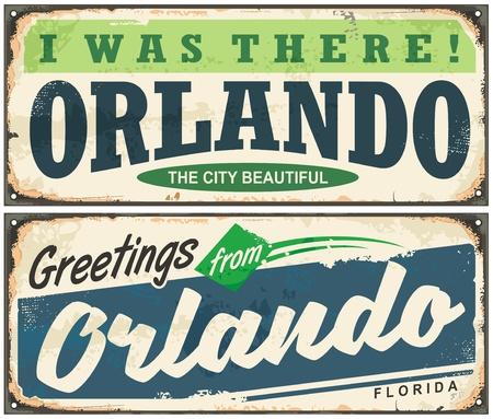 올랜도 플로리다 빈티지 간판 디자인 인사말