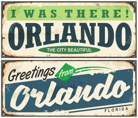 Greetings from Orlando Florida vintage signboard design Ilustrace