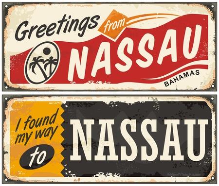 오래 된 복고풍 인사말 카드에 대 한 나소 바하마 예술적 개념