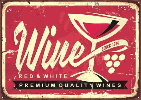 Wijnkelder vintage blik teken