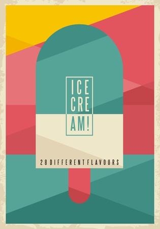 Retro geometric concept for ice cream on creative artistic background Illustration