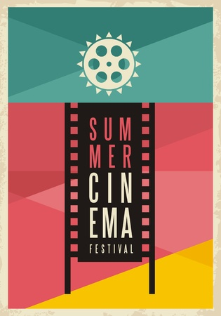 Conceptual artistic poster design for summer cinema movie festival