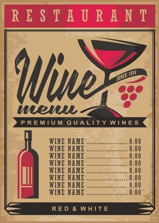 Wijnlijst menu sjabloon op oude vintage papier achtergrond