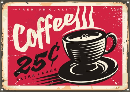 adverts: Vintage coffee shop promotional sign with black and white coffee cup drawing