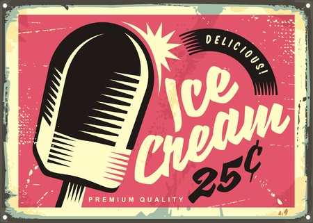 Retro fifties tin sign with delicious ice cream on pink background