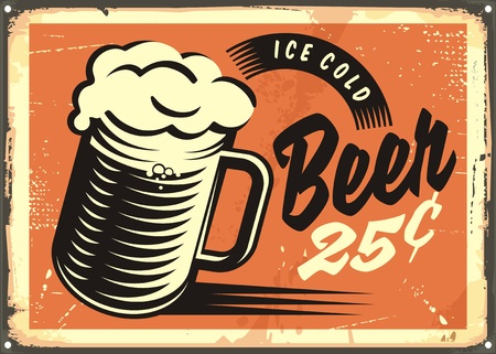Retro style image with ice cold beer mug on old metal background