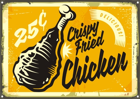 Vintage advertisement with delicious crispy fried chicken