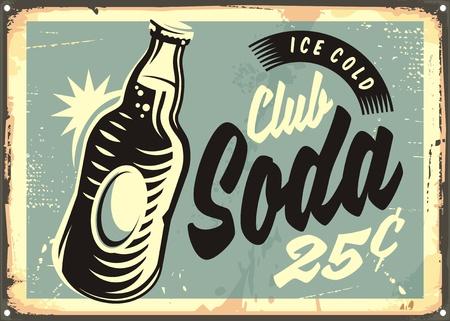 Club frisdrank promotionele retro blikken bord met fles water en creatieve belettering