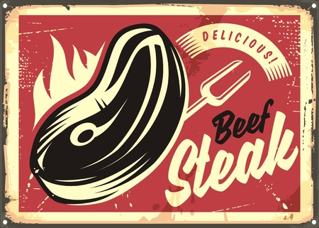 chop: Steak house retro advertisement with slice of beef meat on fire Illustration
