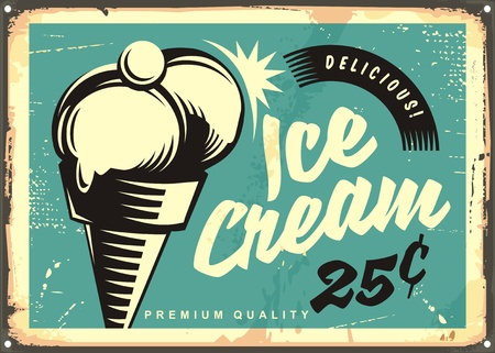 Retro advertisement with two ice cream scoops in a cone and cherry on the top