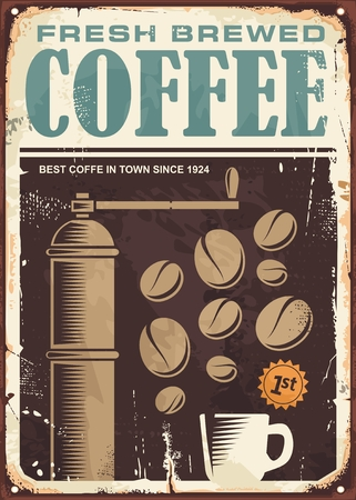 Fresh brewed coffee vintage sign