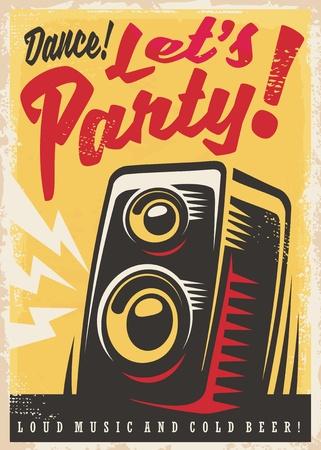 Party invitation retro poster design