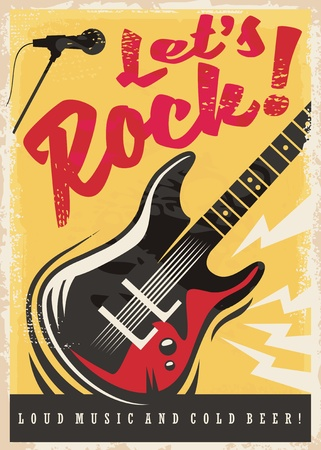Rock music party retro poster design Vectores