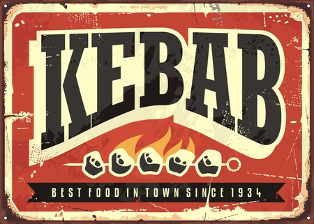 Kebab vintage tin sign