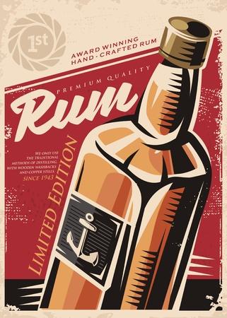 赤い古い紙にラム酒のボトルとレトロなポスター デザイン テンプレート