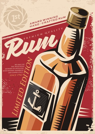 rum: Retro poster design template with rum bottle on red old paper background