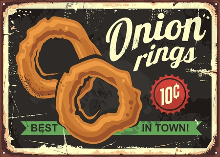 Onion rings retro restaurant sign Stok Fotoğraf - 81320286