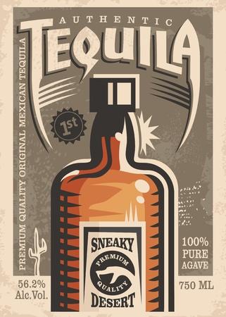 Tequila promotional retro poster design Illustration