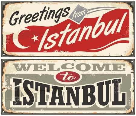 Greetings from Istanbul. Welcome to Istanbul. Illustration