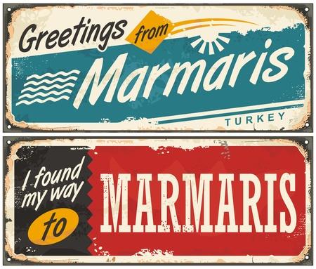 Groeten uit Marmaris Turkije retro blikken borden set. Stock Illustratie