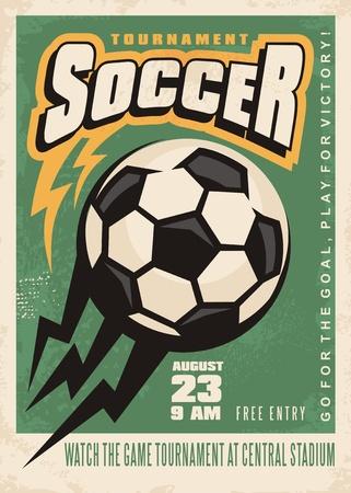Modèle d'affiche de vecteur de tournoi de football avec ballon de foot et papier à en-tête créatif Banque d'images - 81564764