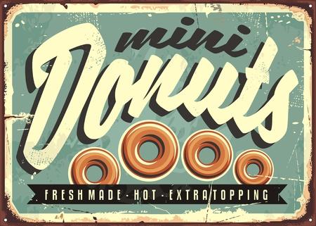 ミニのドーナツは、新鮮でホット、レトロなブリキ看板コンセプト  イラスト・ベクター素材