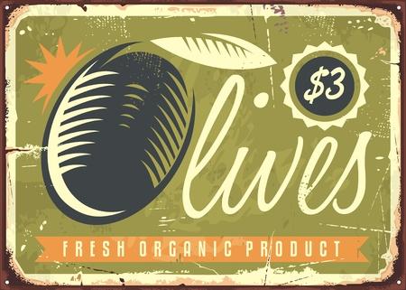 Fresh organic olives retro sign Ilustracja