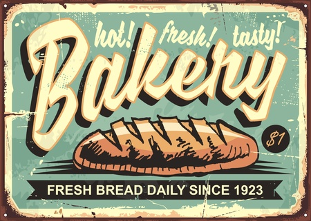 Bakery shop sign with hand drawn bread on old vintage background Çizim