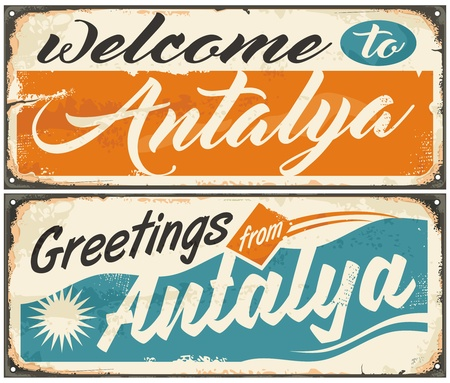 Welcome to Antalya retro souvenir signs set from one of the most popular summer destinations in Turkey