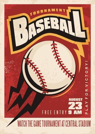 野球大会レトロ ポスター デザイン テンプレート  イラスト・ベクター素材