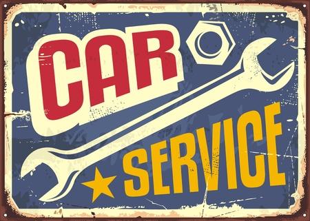 Auto service vintage bord met sleutel gereedschap en creatieve briefpapier