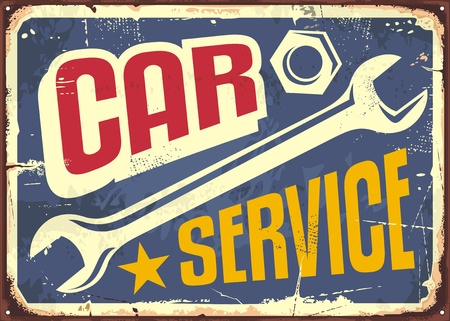 Car service vintage sign with wrench tool and creative letterhead Illusztráció